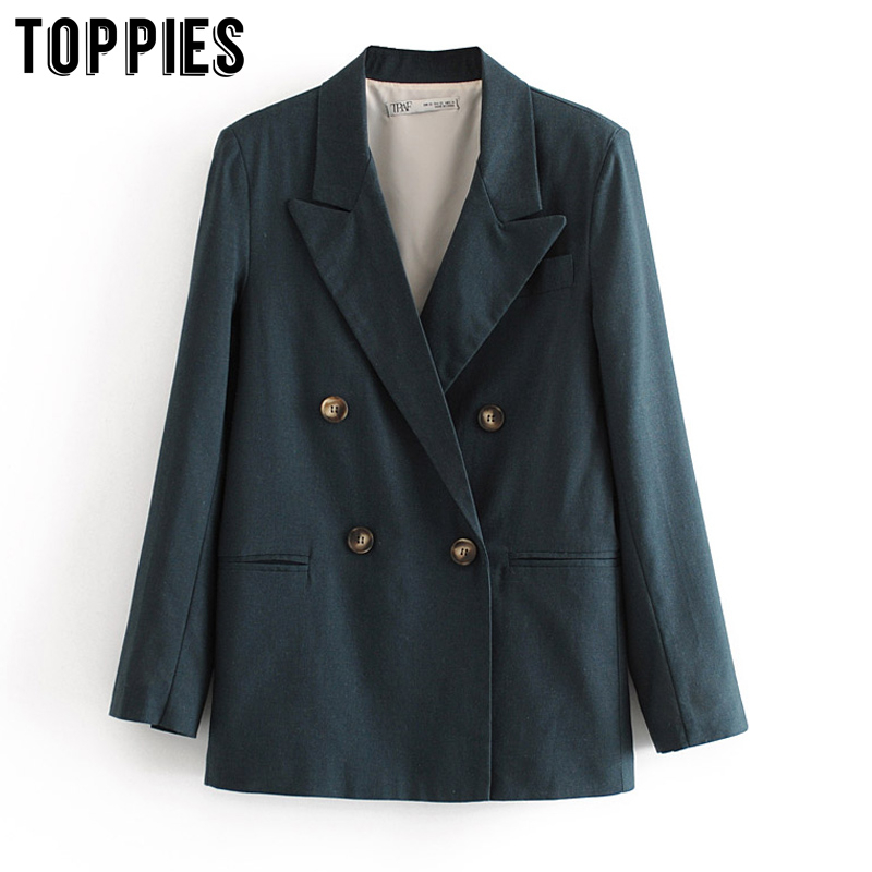 2020 Fashion Womens Blazers Double Breasted Suit Jackets Ladies Coat Office Formal Blazer