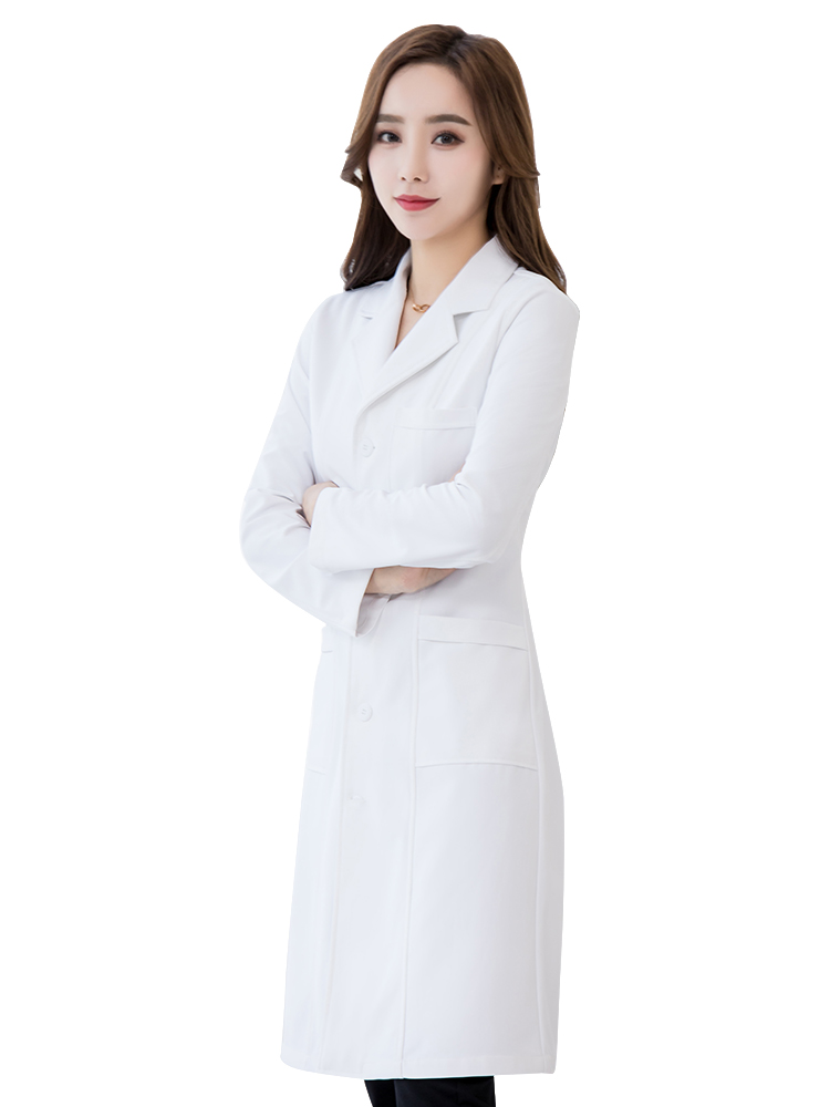 Alosi High End Waterproof Doctor's Clothes Hospital White Coat Long Sleeve Doctor's Work Clothes Men's And Women's Short Plastic