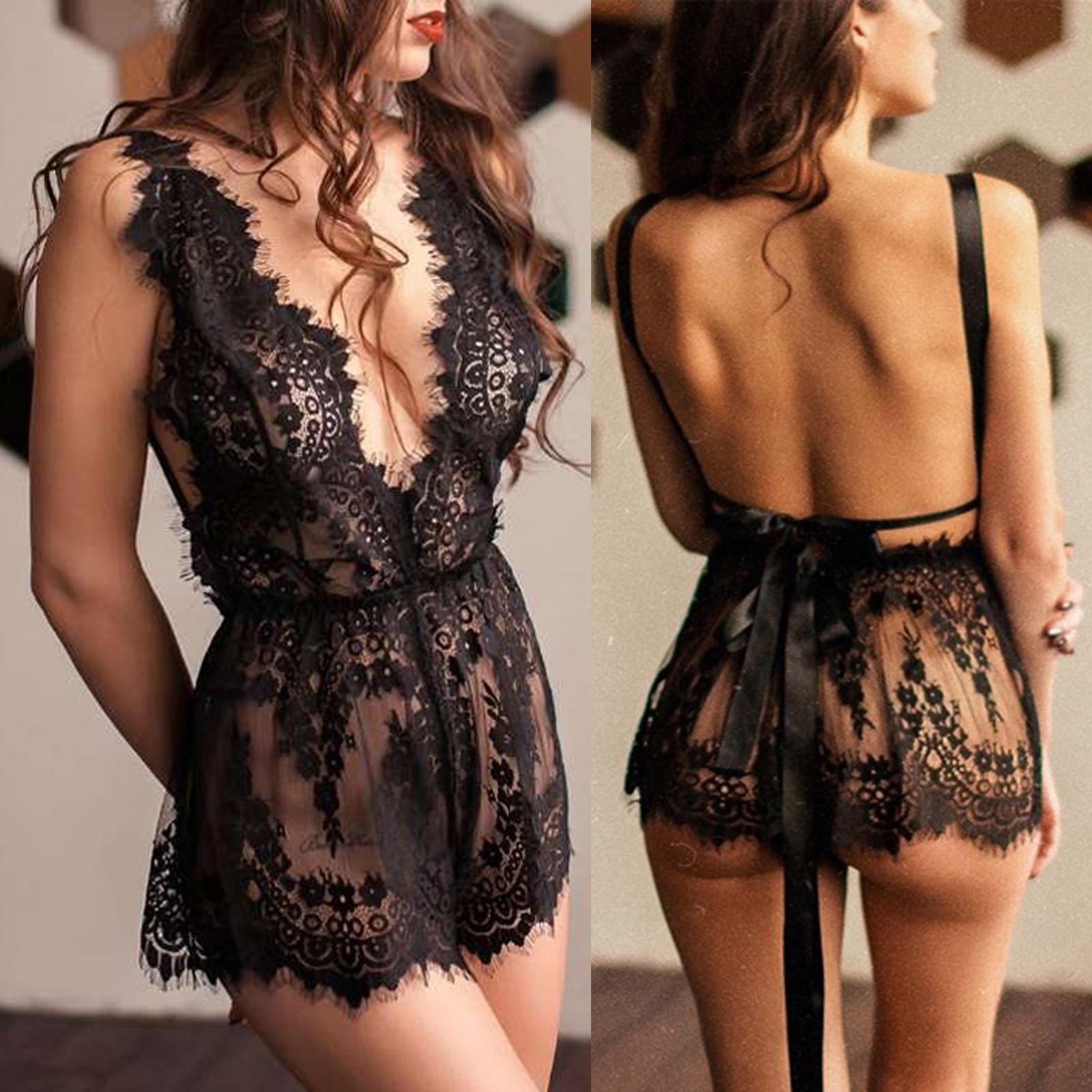 Sexy lingerie feminina quente erótico estilingue sem costas uma peça nightdress senhoras lingerie sexy cílios laço transparente sem costas