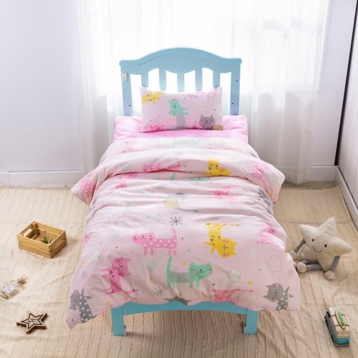 3Pcs Cotton Crib Bed Linen Kit Cartoon Baby Princess Bedding Set Includes Pillowcase Bed Sheet Duvet Cover Without Filler