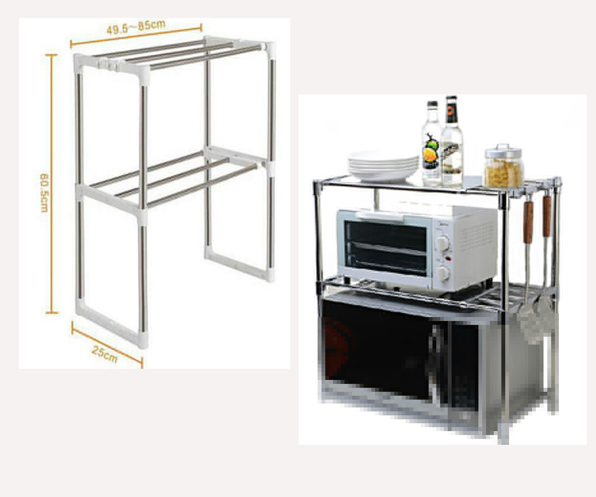 high quality adjustable multi functional double kitchen storage holders stainless steel microwave oven shelf rack standing type