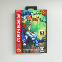 Earthworm Jim Usa Cover Met Doos 16 Bit Md Game Card Voor Sega Megadrive Genesis Video Game Console