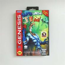 Solucan Jim abd kapak perakende kutusu ile 16 Bit MD oyun kartı Sega Megadrive Genesis Video oyunu konsolu