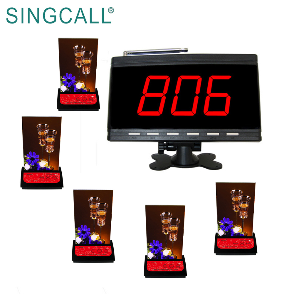 Беспроводная система пейджинга Singcall для больничного банковского бара, 5 красных пейджеров для стола и 1 приемник с белым дисплеем