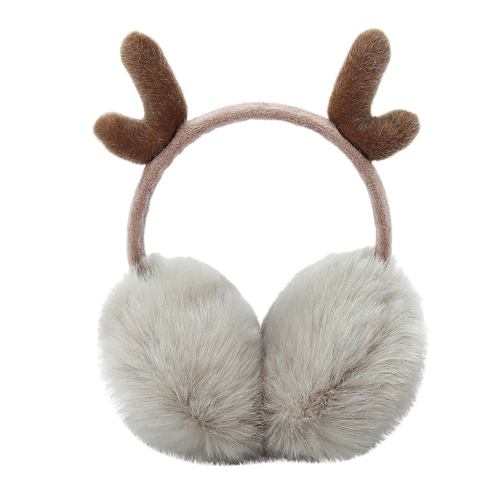 Cute Plush Antlers Ears Design Winter Warm Adjustable Earmuffs меховые наушники Earmuffs Thermoscan Winter Accessories 2019