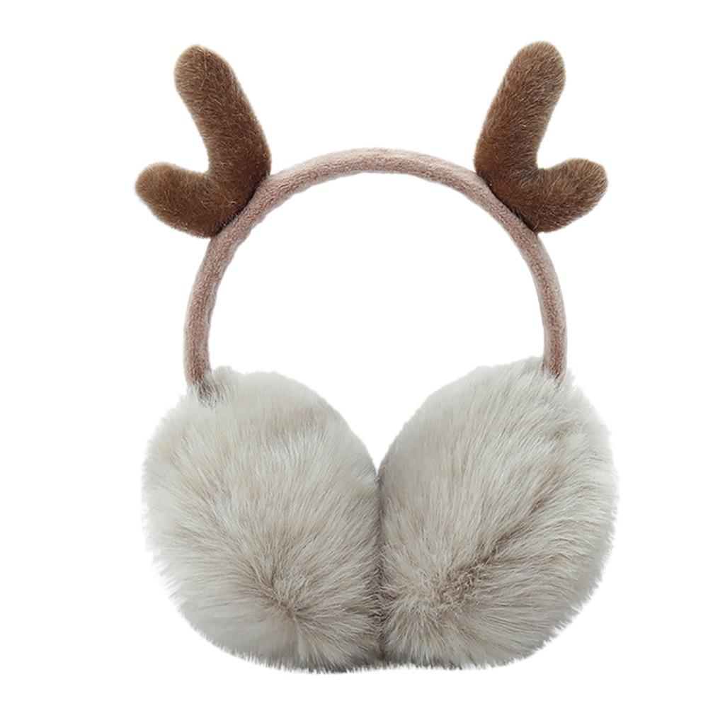 Cute Plush Antlers Ears Design Winter Warm Adjustable Earmuffs меховые наушники Earmuffs Thermoscan Winter Accessories 2019