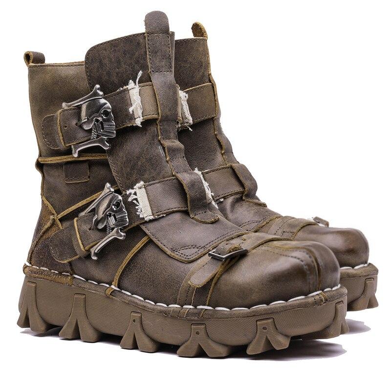Botas de combate militares de motocicleta de cuero genuino estilo Vintage y único para hombre con calavera-in Botas de motocicleta from zapatos    1