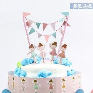 Image 4 - Новинка 2018, мультяшный динозавр, пиратский торт, Topper, флаг, набор баннеров, дети, мальчик, девочка, день рождения, детские товары для украшения торта