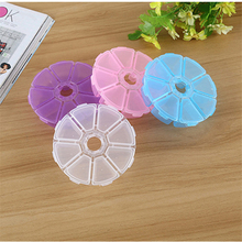 1Pc Round Jewelry Pill Storage Box Blue Purple White Pink Makeup Organizer Ring Stationery Dust Protective Plastic