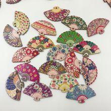 30pcs DIY Hand Fans Painting Micro Craft Fan Creative Mini For Home Wood Block Hair Ornaments Retro-ancient