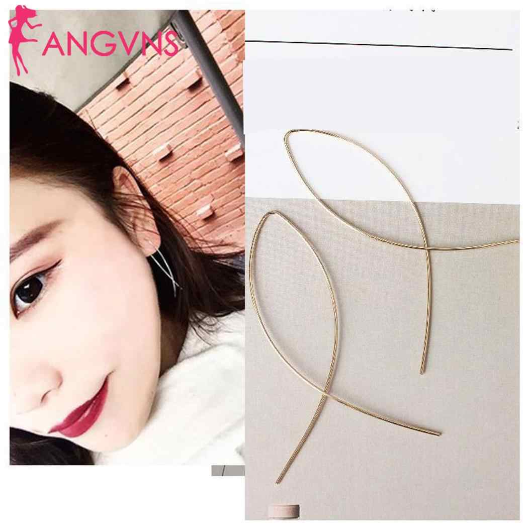 Women Fashion Simple Personality Fish Line 2g Earrings Metal Silver, Gold Casual Ear Line