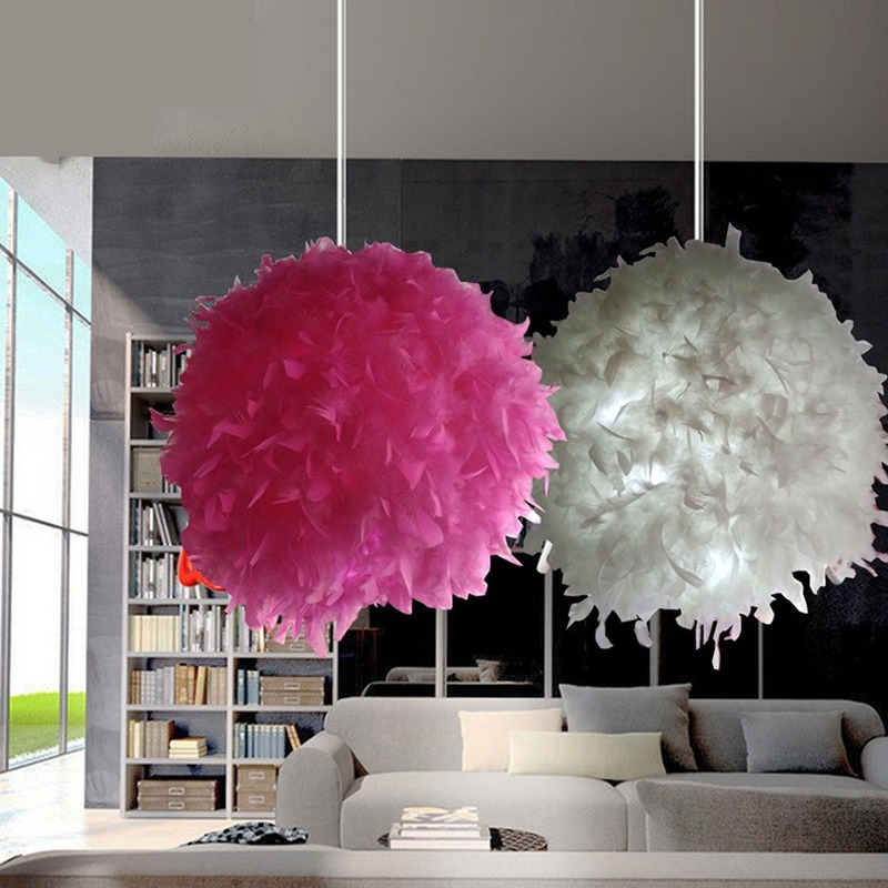 Nordic Creative Romantic Chandelier White Pink Rose Feather Ball Chandelier Petal Feather Hanging Lamp for Girls' Bedroom Loft