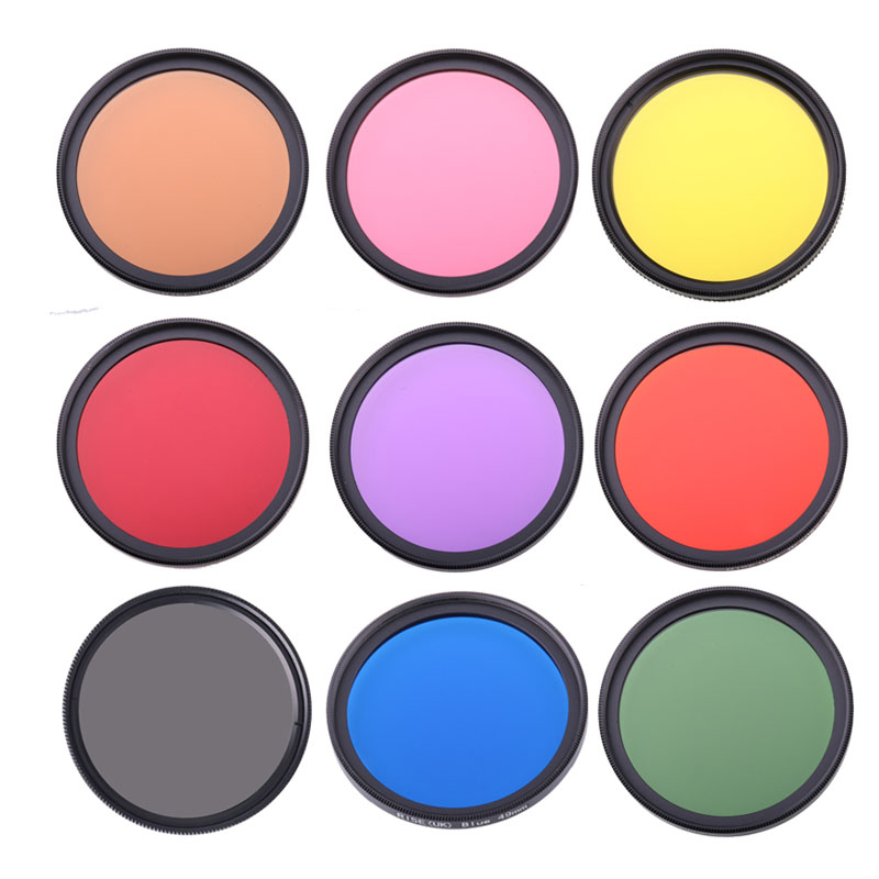 Full Color DSLR Camera Lens Filter 49mm 52mm 55mm 58mm 62mm 67mm 72mm 77mm Blue Red Orange full color Lens Filter image