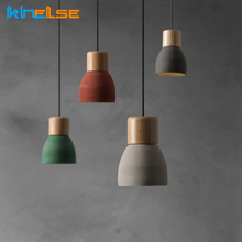 Nordic Concret Indoor Led Pendant Lamp Cement Wood Hanging Lights Fixture Vintage Loft Restaurant Bedroom Bar Cafe Aisle Lights wood ball creative pendant light mediterranean style restaurant cafe bar hanging lamp modern wood lamp for bedroom balcony aisle