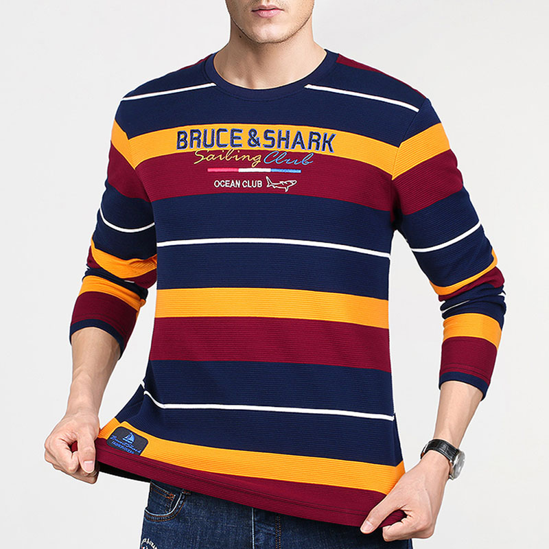 Bruce&Shark Full Sleeve Men Shirt Plus Size TO 4XL Cotton 95% Fashion Casual Best Embriodery Male Tees Strip Round Thick  2351