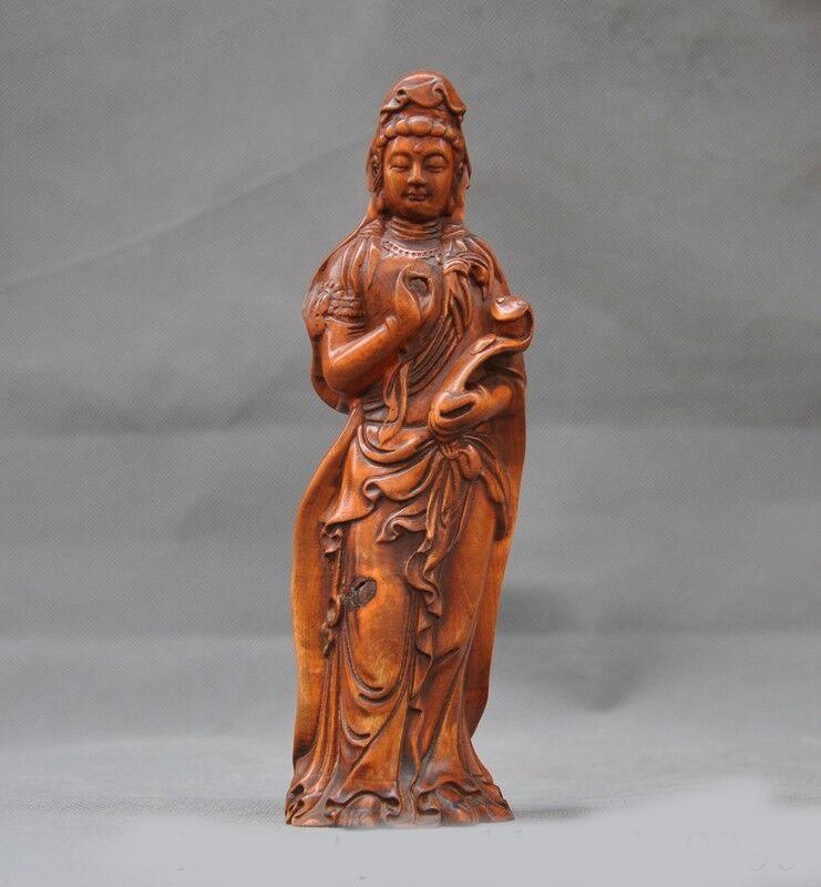 Old Chinese Boxwood Wood Carved Dragon Lotus Guanyin Kwan-yin Bodhisattva Statue