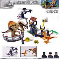 423 piezas nuevo juego de dinosaurios del Mundo Jurásico bloques de construcción de bloques de juguete para niños caja