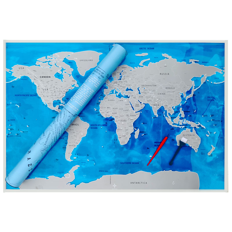 Large Size Deluxe Scratch Map Ocean Scratch Off  World Travel Map Personalized Gifts Wall Stickers Poster Office Home Decoracion