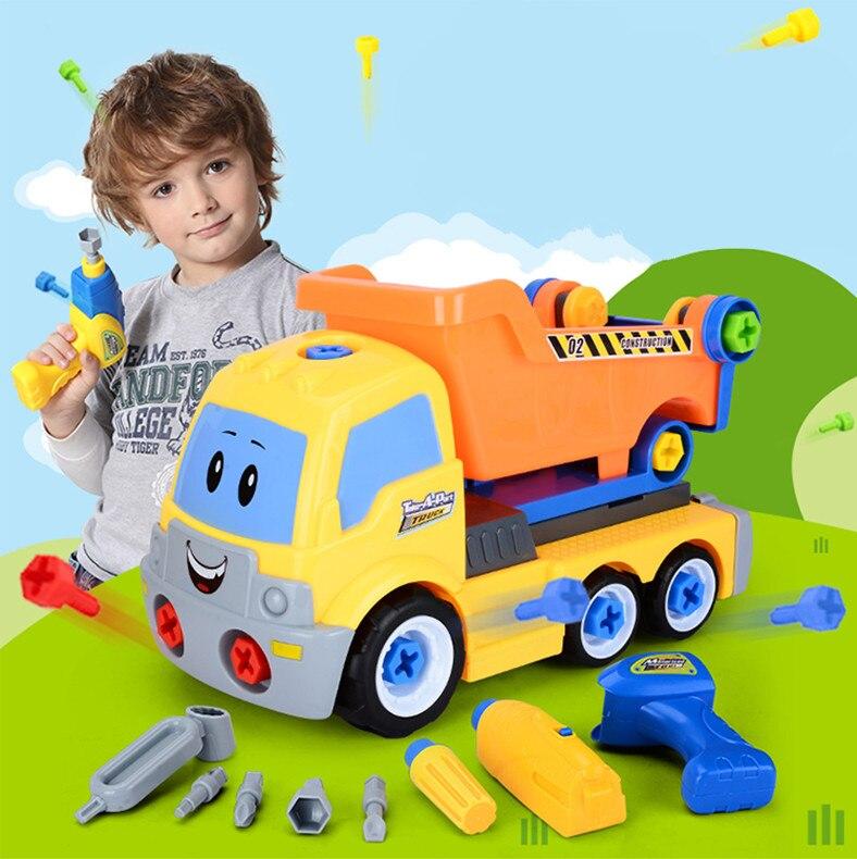 Детские развивающие игрушки Разборка грузовик Дети Электрическая отвертка собранные блоки наборы сборка модель автомобиля строительные наборы