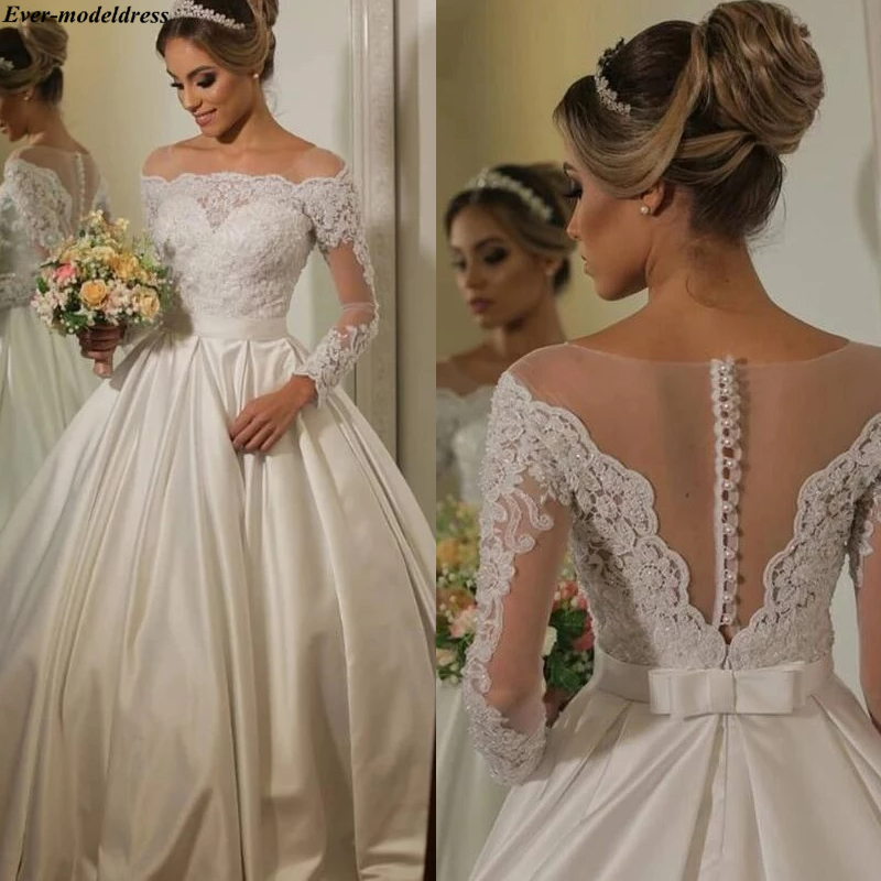 Long Sleeves Wedding Dresses Lace Appliques Beaded A-line Satin Sheer O-Neck Bridal Gowns Bride Dress Vestido De Noiva 2020