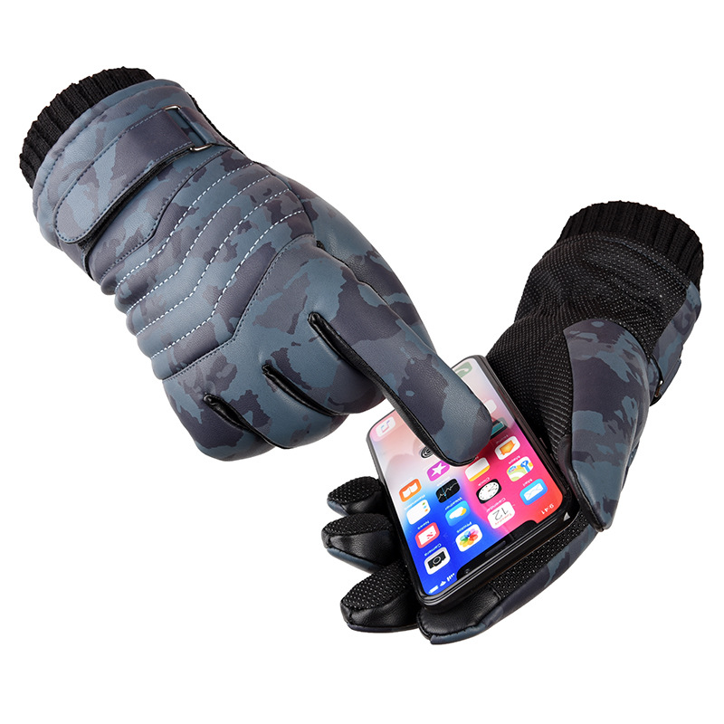 Winter MEN'S Gloves Camouflage Thick Touch Screen Brushed And Thick Cycling Riding Shop Processing Customizable Manufacturers Wh