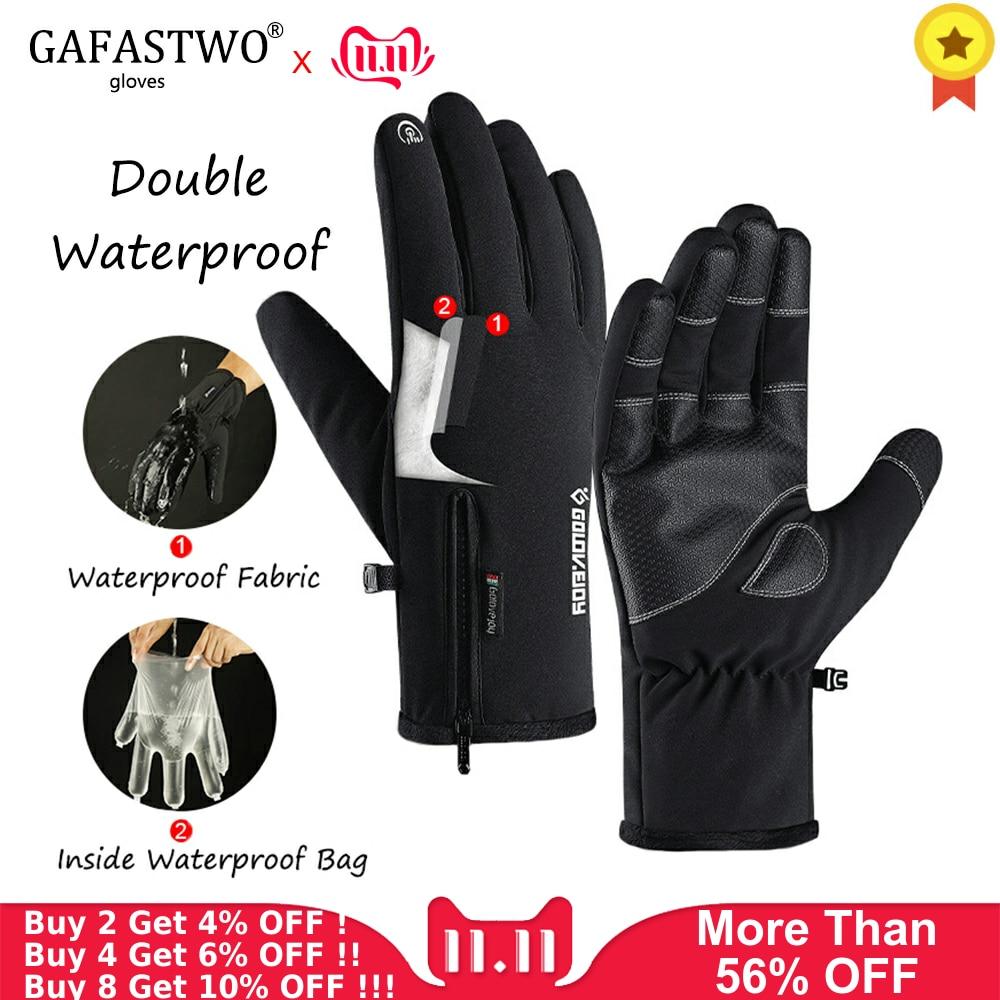 Winter New Warm Plus Velvet Thick Waterproof Mens Gloves Womens Zipper Touch Screen Outdoor Riding Sports Ski Gloves