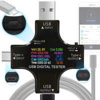 12 in 1 color PD USB tester DC Digital voltmeter current voltage Type-C meter amp ammeter detector power bank charger indicator