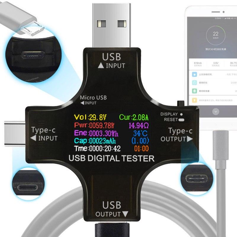 12 в 1 цвет PD USB Тестер DC Цифровой вольтметр Ток Напряжение тип-c измеритель Амперметр детектор Банк питания зарядное устройство индикатор