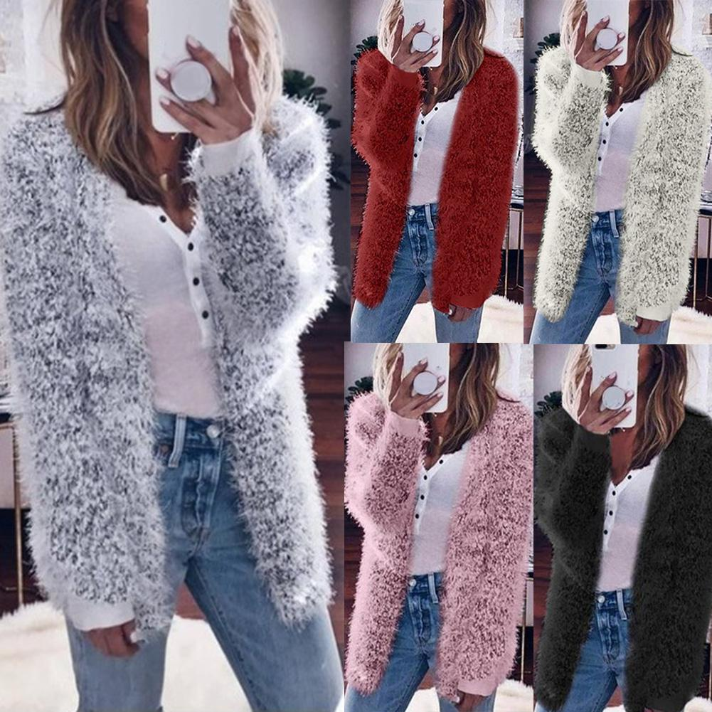 Autumn Winter Women Solid Color Fluffy Long Sleeve Knit Coat Open Front Cardigan