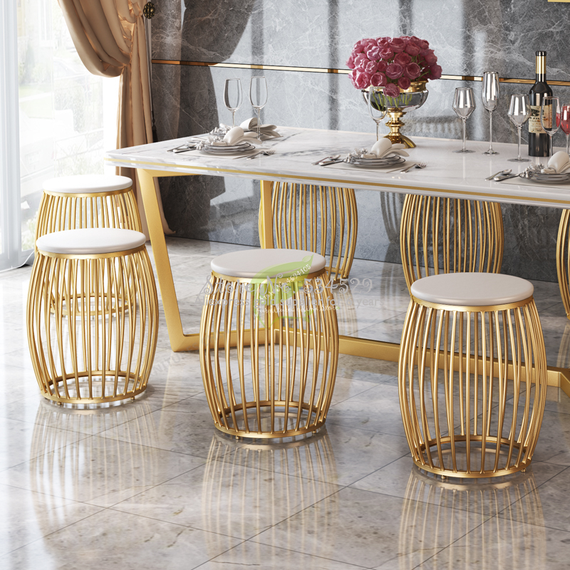 38%Modern Bar Stool Iron Bar Chair Bar Furniture Bar Stool Seat Beauty Salon Furniture Make Up Chair Nordic Iron Art Gold