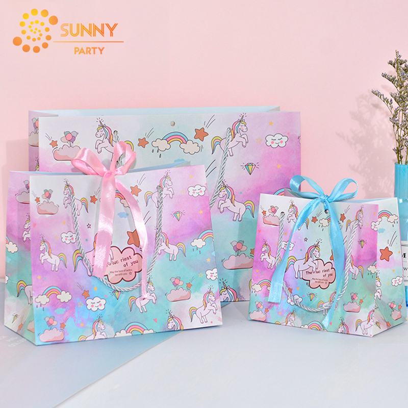 Pink Blue Ribbon Unicorn Package Bag Paper Tote Bags Unicorn Party Kids Birthday Gift Souvenir Packaging Bag Supplies Wholesale