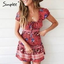 Simplee stampa Floreale 2 pezzi vestito da estate delle donne Elegante ruffle off spalla breve abiti Vintage lace up beach mini vestito estivo