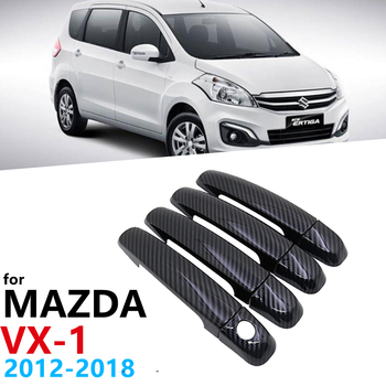 Black Carbon Fiber Door Handles Cover Car Door Protection for Suzuki Ertiga Mazda VX-1 2012~2018 Car Accessories Stickers 2013 image