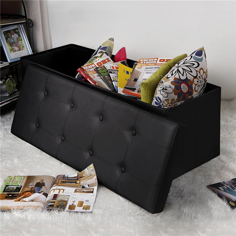Extra Large 110cm Length PVC Leather Foot Stool Living Room Decorative Sofa Stool Home Children Toys Sundries Storage Cabinet