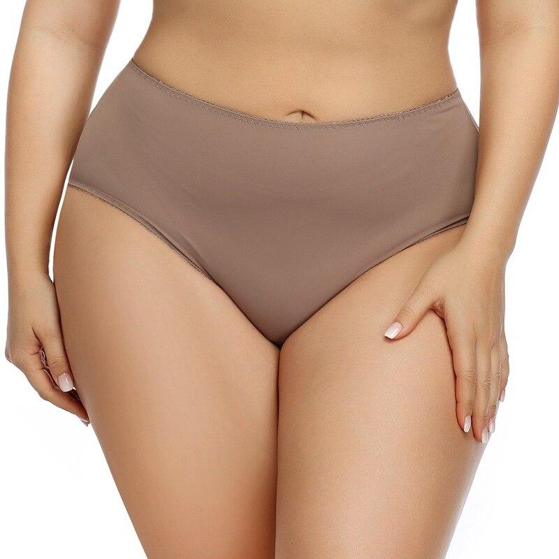 Женское нижнее белье большого размера, сексуальные ледяные шелковые трусики с высокой талией для пышных женщин, большие размеры, блестящие ...