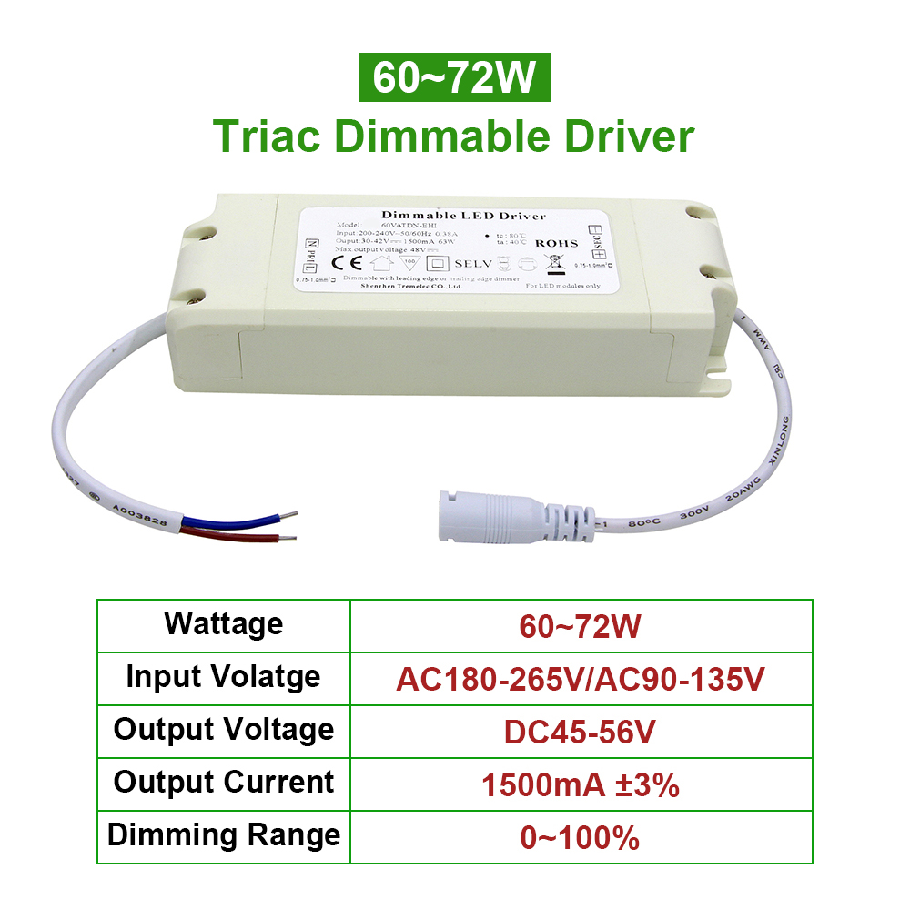 60-72W led Triac Dimmable constant current Driver Dimming Power Supply Adapter 1.5A Lighting Transformers 110 220V Ceiling light image