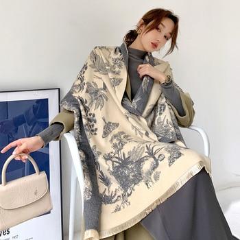 2020 Luxury Cashmere Scarf Winter Women Pashmina Shawls Warm Blanket Wraps Female Foulard Bandana Brand Thick Print Scarves