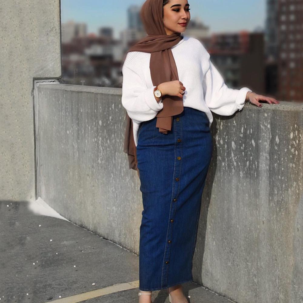 Muslim Women Long Denim Skirt Buttons Bodycon Stretch Pencil Skirts High Waist Pocket Jeans Skirts Dress Islamic Bottoming Abaya