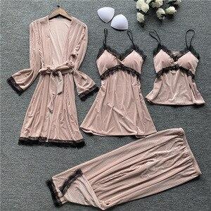 Image 5 - Autumn New 4 Pcs Thickening Velvet Long Sleeve Women Pajamas Lace Sexy With Chest Pad Spaghetti Strap Sleepwear