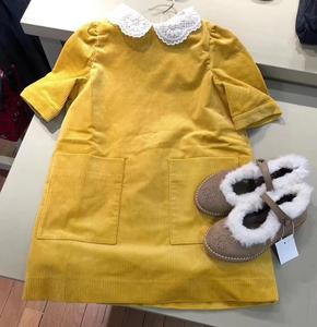 Robe pour filles couleur jaune col en dentelle velours côtelé mignon enfant en bas âge bébé filles robes