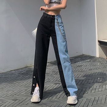 Vintage Jeans Woman Baggy Wide Leg Patchwork Jeans Women High Waist Trousers Loose Streetwear Fashion Clothes Cotton Denim Pants tie waist flare hem jeans women denim trousers vintage ladies clothes fall high waist pants belted stretchy jeans wide leg jeans