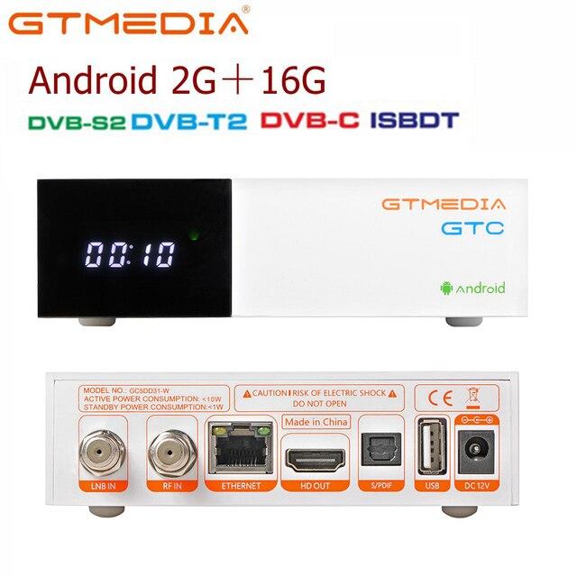 Спутниковый ТВ приемник GTMedia GTC, ресивер DVB S2/C/T2/ISDB T, Android 6,0, Приставка Smart TV Amlogic S905D, 2 ГБ, 16 ГБ, декодер H.265, поддержка m3u
