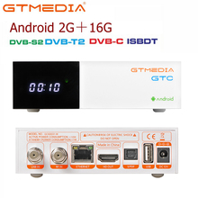 GTMedia receptor de TV satélite GTC, DVB S2/C/T2/ISDB T, Android 6,0, dispositivo de TV inteligente, Amlogic S905D, 2GB, 16GB, H.265, decodificador compatible con m3u