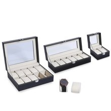 2/6/10 Grids PU Leather Watch Box Case Professional Holder Organizer for Clock Watches Jewelry Boxes Display for Dropshipping(China)