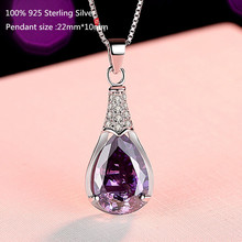 цена 100% 925 Sterling Silver Necklace Women Shiny Purple Crystal Zircon Pendant Necklace for Women Wedding Jewelry в интернет-магазинах