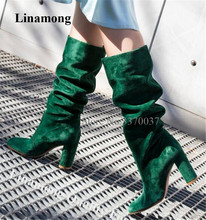 Round Toe Suede  Green  Boots