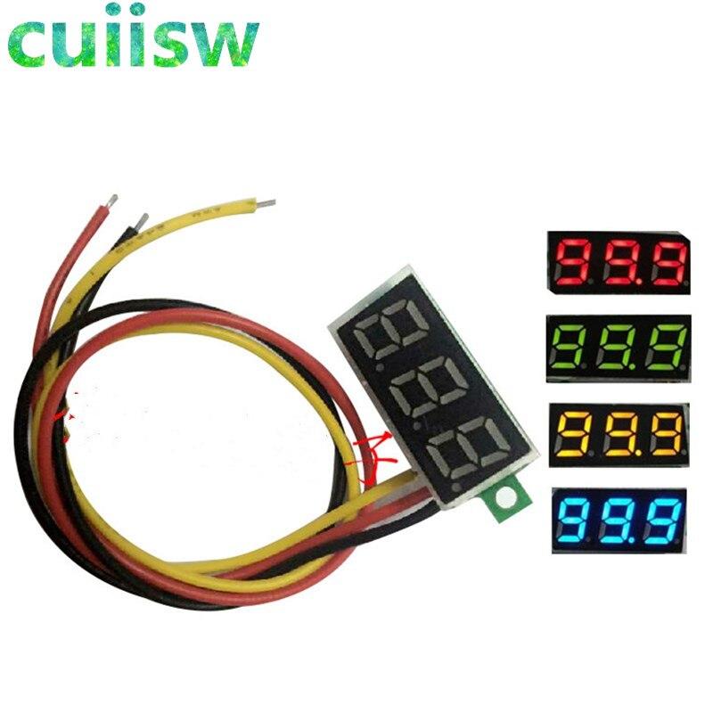 0,28 дюймов DC 0-100 в 3-Провода мини-датчик напряжения постоянного тока вольтметр светодиодный Дисплей цифровой Панель вольтметр детектор монит...