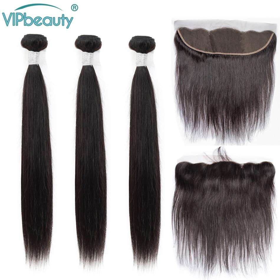 Vip Beauty malezyjskie proste włosy 13x4 koronkowe przednie zamknięcie z wiązkami pasma włosów typu remy z przednim 1b w 3/4 pasma z siateczką od Przedłużanie włosów i peruki na AliExpress - 11.11_Double 11Singles' Day 1