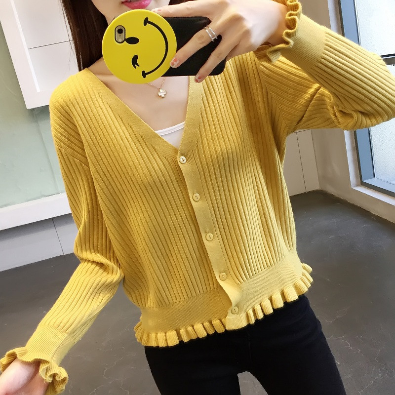 Kawaii Ruffle Frill Ribbed Knitted Cardigan Ladies Spring Autumn Single Breasted V Neck Sweater Cardigan Knit Outerwear