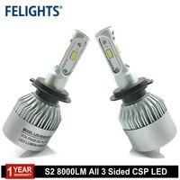 LED H7 6000K 3 Lados CSP S2 LED H4 H7 H11 H8 H9 9005 HB3 9006 HB4 Lâmpadas Do Farol Do Carro Lâmpada 8000LM auto lâmpada 12V Carro LEVOU Farol